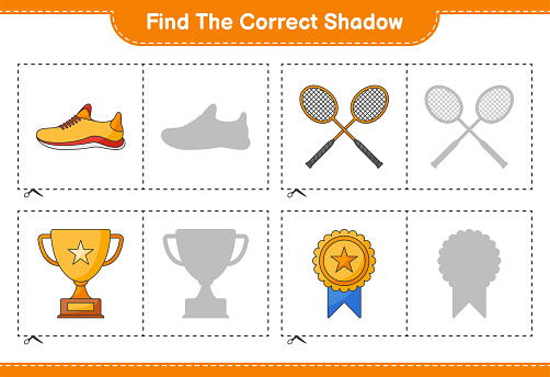 Find the correct shadow. Find and match the correct shadow of Trophy, Running Shoes, and Badminton Rackets. Educational children game, printable worksheet, vector illustration