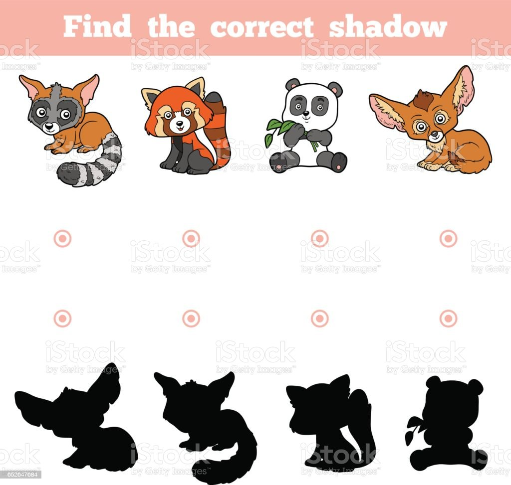 Find the correct shadow, game for children. Vector set of animals vector art illustration