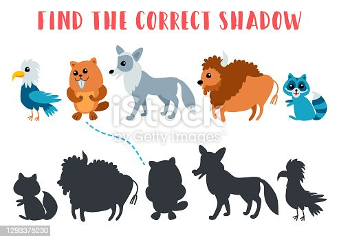 istock Find the correct shadow. Kids learning game. 1293375230