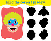 Find the correct shadow of clown's face. Educational game for children.