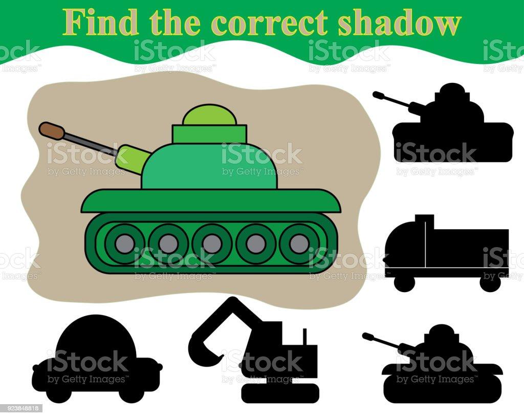 Tank Doğru Gölgesi Bulmak çocuklar Için Eğitici Bir Oyun Stok Vektör