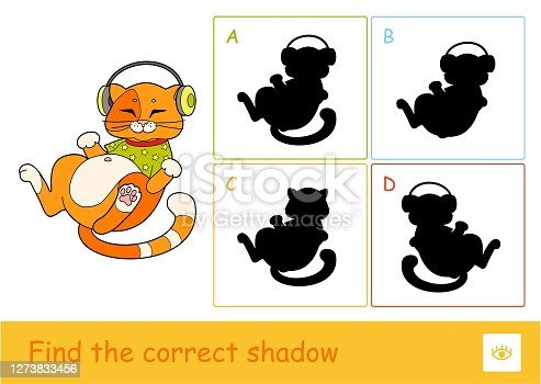 Find the correct shadow quiz learning.  Children game with the illustration of cute cat in T-shirt, listening to the music in headphones and four silhouette shadows for the youngest children.