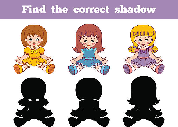 finden sie den richtigen job-shadowing (puppen - puppenkurse stock-grafiken, -clipart, -cartoons und -symbole