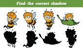 Game for children: Find the correct shadow (bees)