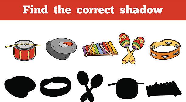 znajdź właściwą shadow (instrumenty muzyczne - talerz perkusyjny stock illustrations