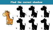 Find the correct shadow, education game for children (giraffe)
