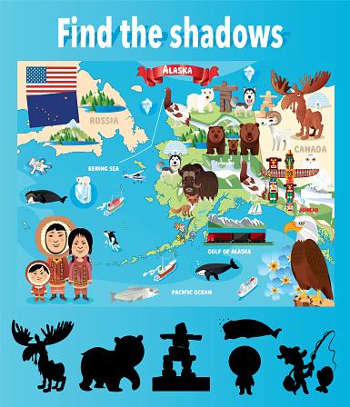 Find the correct shadows, Alaska map