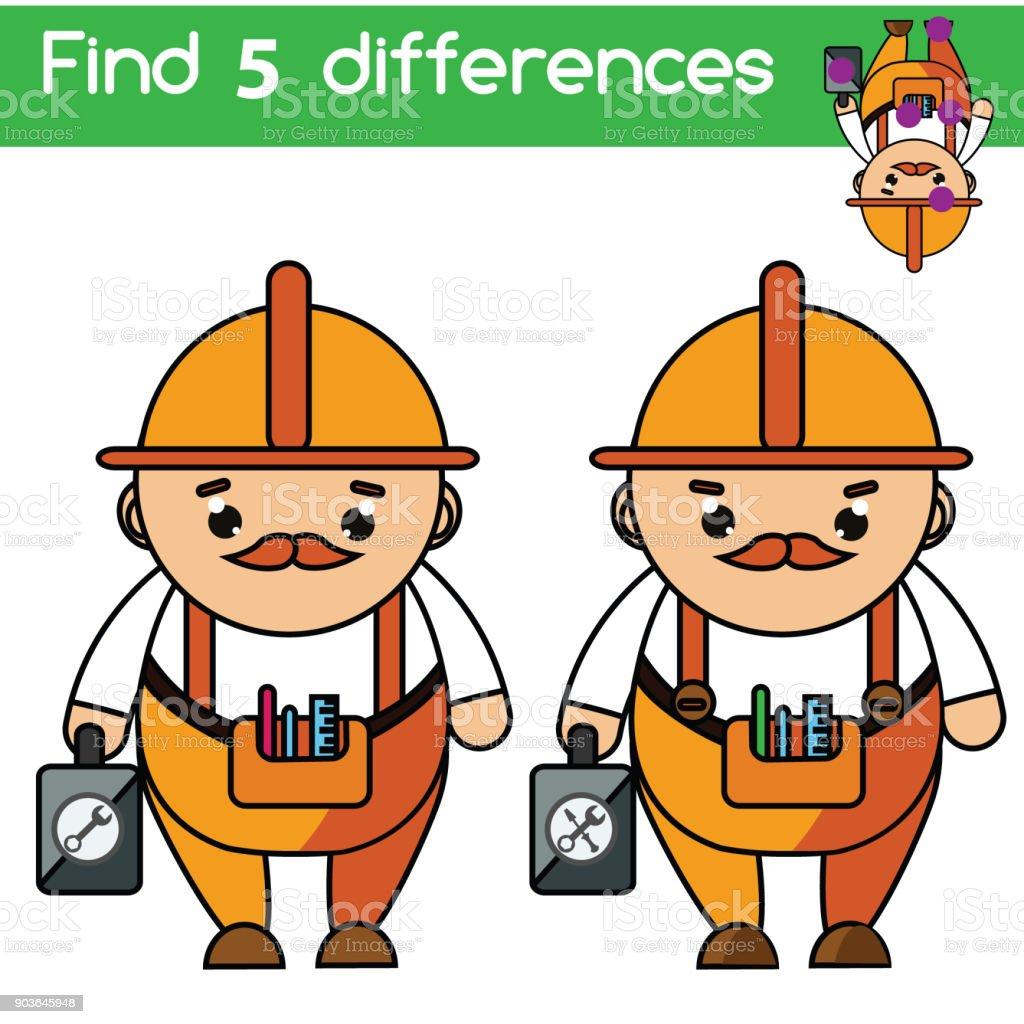 Ilustracion De Encuentra Las Diferencias Juego De Ninos La Educacion