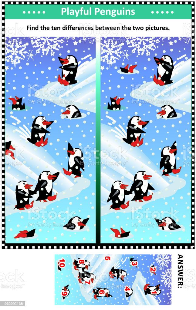 Find the differences picture puzzle with playful penguins - Royalty-free Activity stock vector