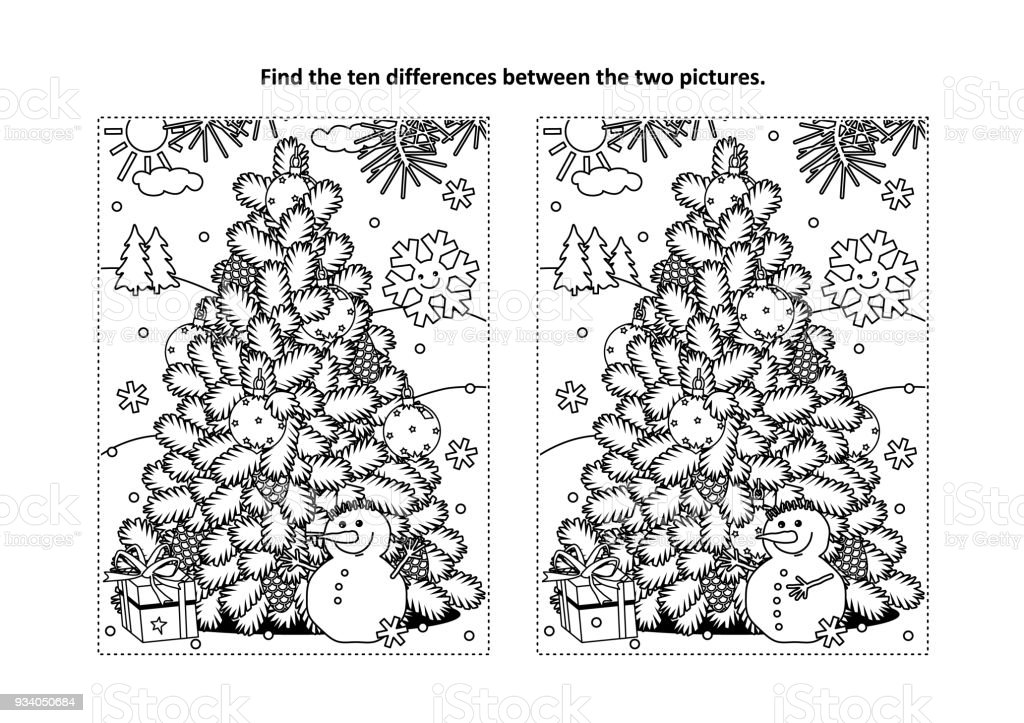 Find The Differences Visual Puzzle And Coloring Page With Christmas
