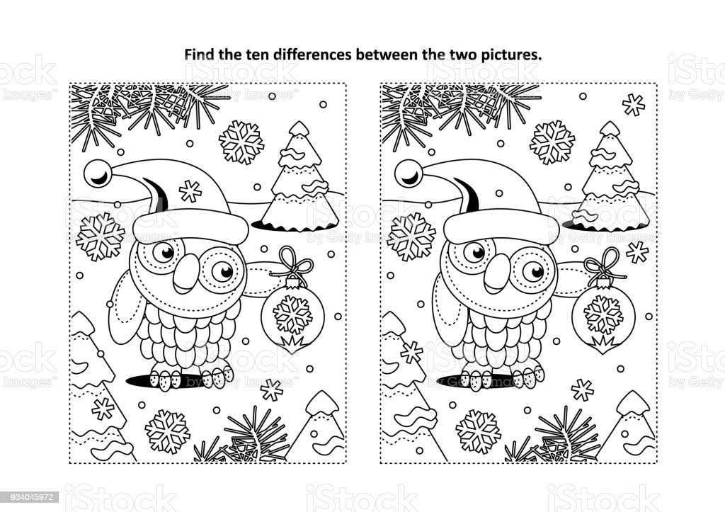 Find The Differences Visual Puzzle And Coloring Page With Holiday ...