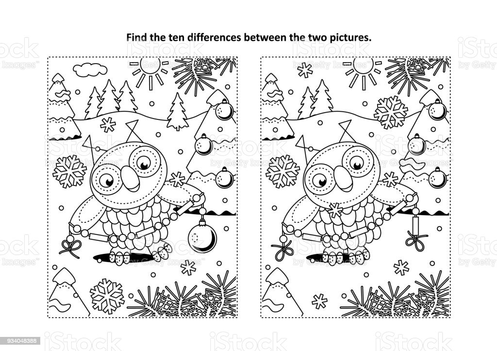 find the differences visual puzzle and coloring page with owl and garland royalty free find