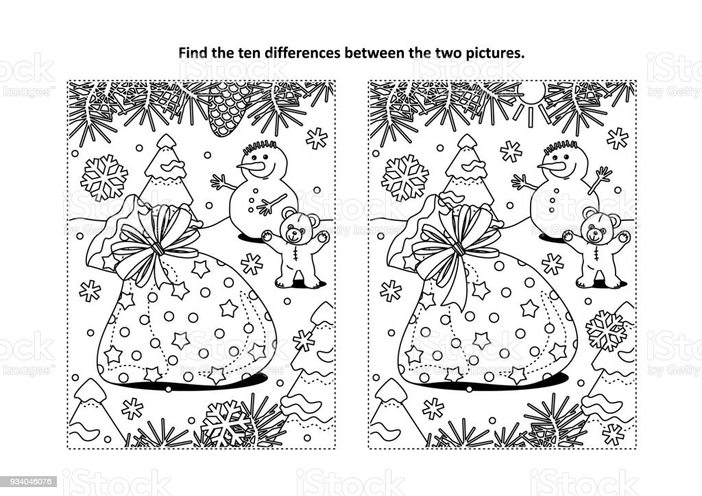 find the differences visual puzzle and coloring page with santas sack royalty free find the