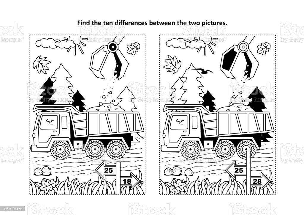 Find The Differences Visual Puzzle And Coloring Page With Tipper