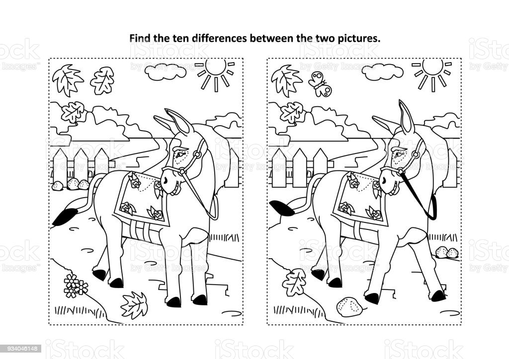 Find The Differences Visual Puzzle And Coloring Page With Walking