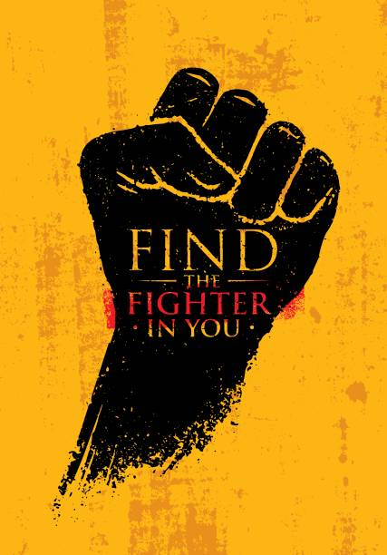 find the fighter in you. martial arts motivation quote banner concept. rough fist on grunge wall background - martial arts stock illustrations