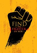 Find The Fighter In You. Martial Arts Motivation Quote Banner Concept. Rough Fist On Grunge Wall Background