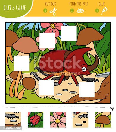 istock Find the missing pieces, jigsaw puzzle game. Cut and glue squares. Rhinoceros beetle in the meadow 1280578782