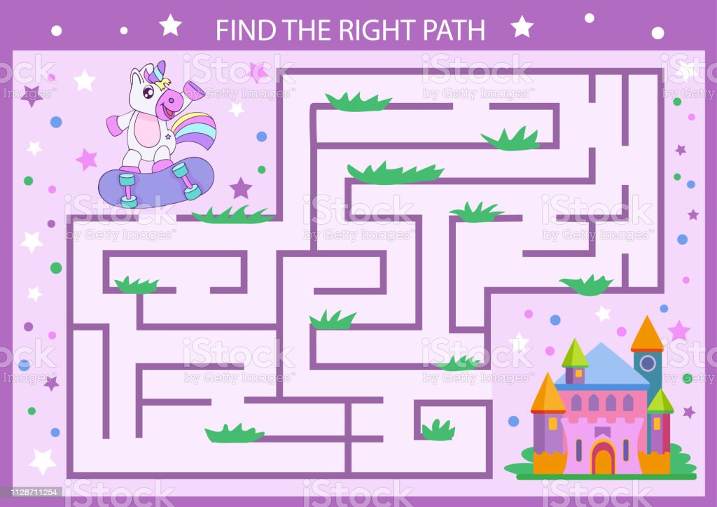 Find The Right Path From Unicorn To Castle Children Maze Funny