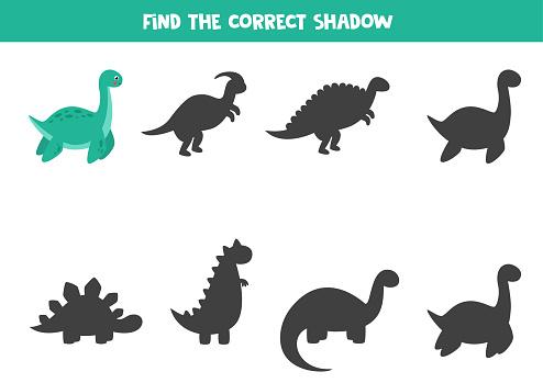 Find the right shadow of cute cartoon plesiosaurus.