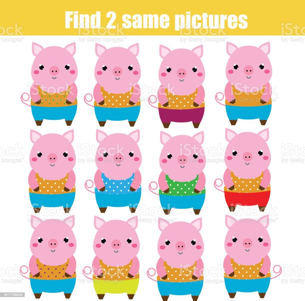 Find The Same Pictures Children Educational Game Animals Theme Stock ...
