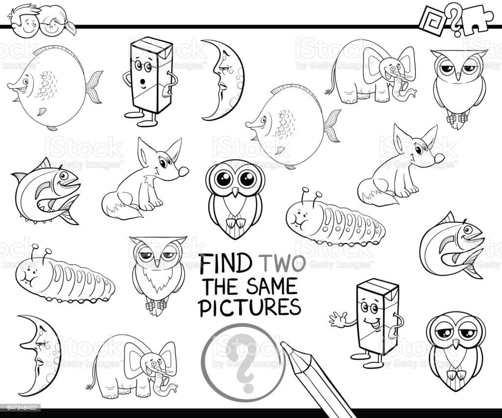 Sayfa Boyama Aynı Resimleri Bulma Stok Vektör Sanatı Anaokulunin
