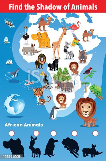 Vector Find the Shadow of African animals http://legacy.lib.utexas.edu/maps/world_maps/world_physical_2015.pdf