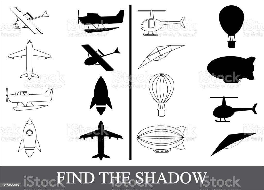 Find The Shadow Of Air Transport Kids Game Stock