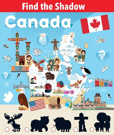 Find the Shadow of Canada Symbols