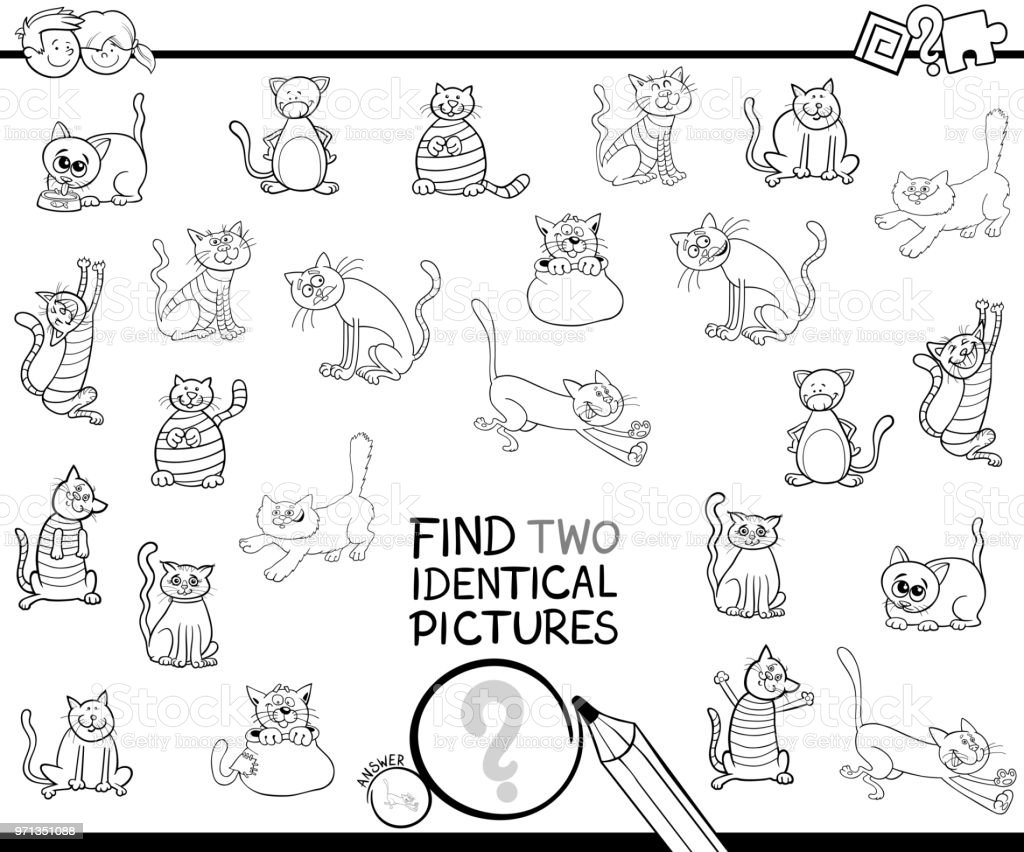 塗り絵 2 つの同一の猫の写真を見つける ぬりえブックのベクターアート
