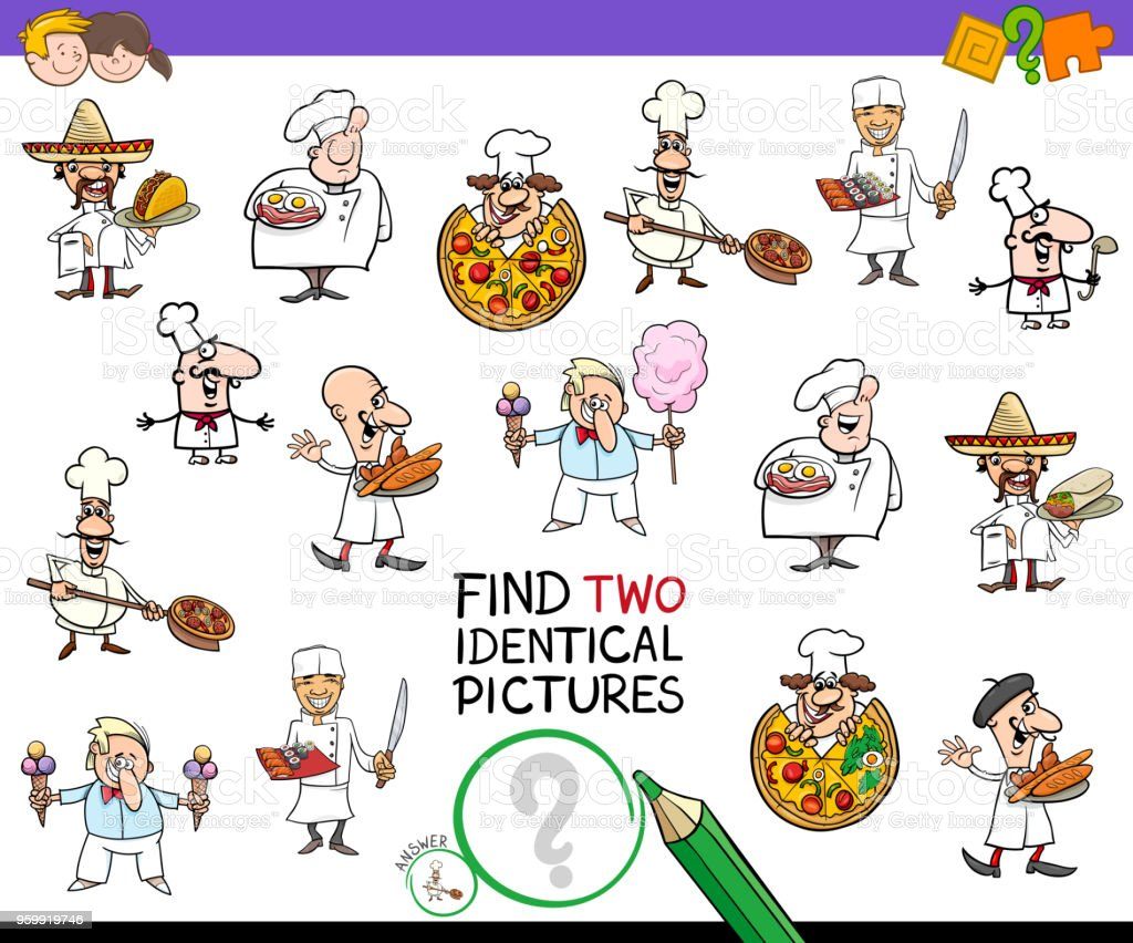encontrar dos personajes idénticos chef juego para niños - ilustración de arte vectorial