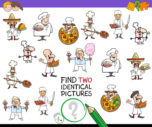 find two identical chef characters game for kids - office party stock illustrations, clip art, cartoons, & icons