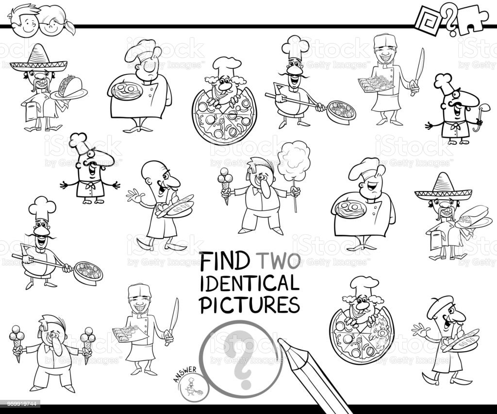Ilustración de Encontrar A Dos Chefs Idénticos Libro Para Colorear y ...