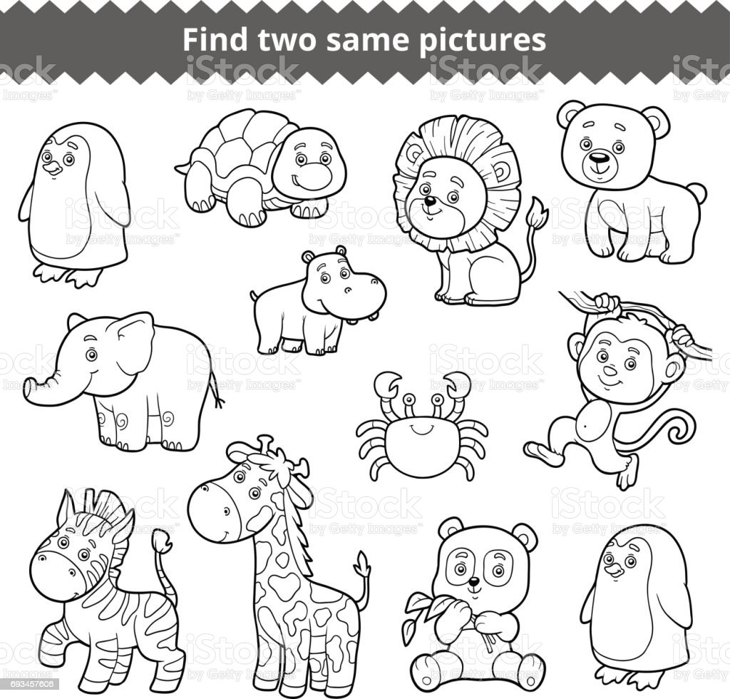 Find Two Identical Pictures Education Game For Children Set Of Zoo
