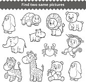 Find two identical pictures, education game for children, set of zoo animals