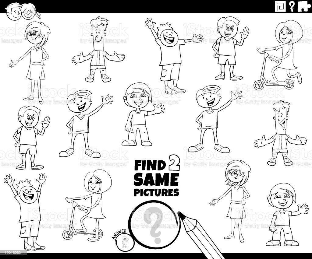 Trouver Deux Memes Enfants Coloriage Jeu De Livre Vecteurs Libres De Droits Et Plus D Images Vectorielles De Activite Istock