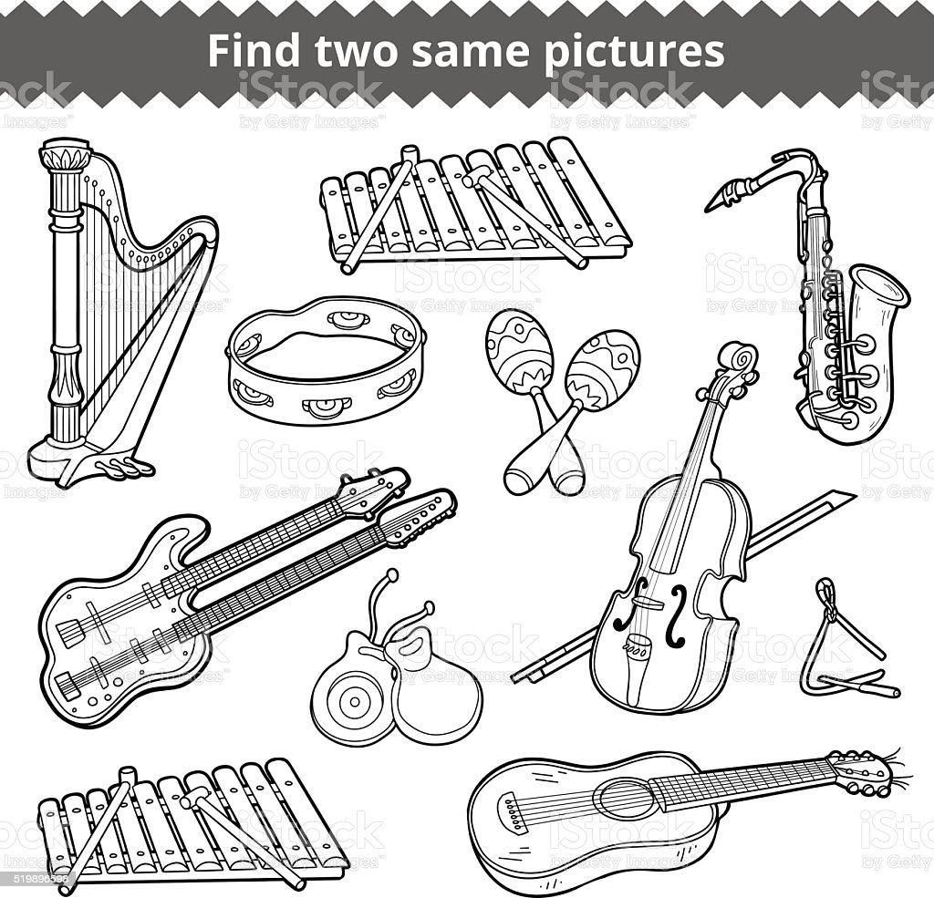Find two same pictures. Vector set of musical instruments vector art illustration