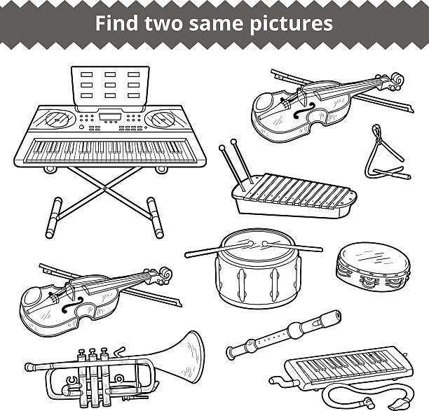 Vectores de Libro Para Colorear Con Los Niños Instrumentos Musicales ...