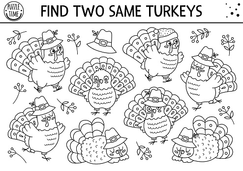 Find two same turkeys. Thanksgiving black and white matching activity for children. Funny autumn line quiz worksheet for kids for attention skills. Simple fall printable game or coloring page