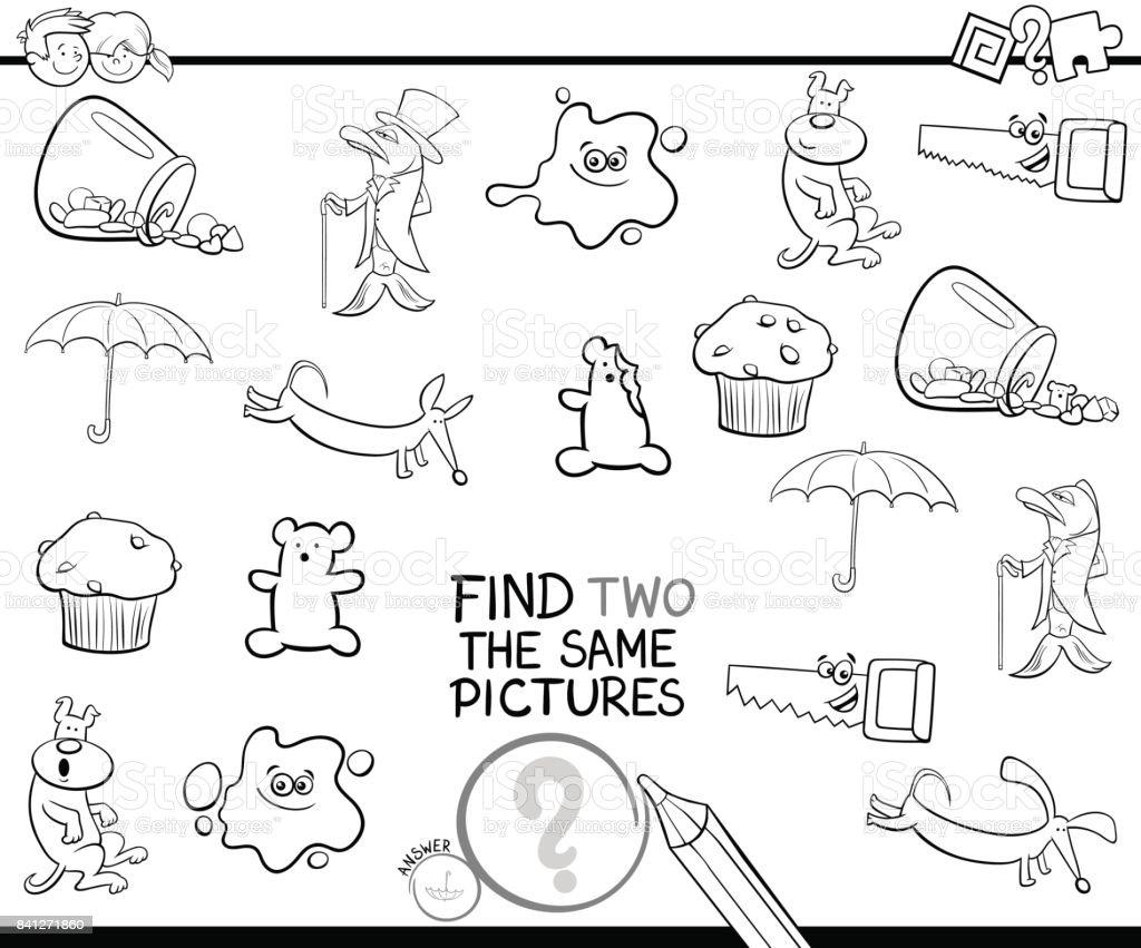 Iki Aynı Sayfa Boyama Resimleri Bulma Stok Vektör Sanatı Anaokulu