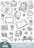 Find two the same pictures, game for children. Black and white set of school objects