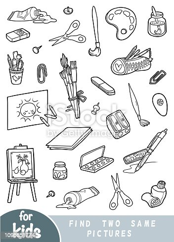Find two the same pictures, education game for children. Black and white set of artists objects