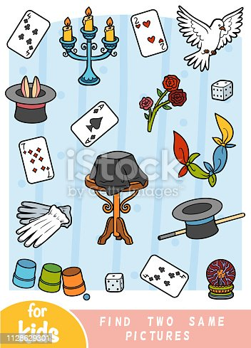 Find two the same pictures, education game for children. Color set of magician items