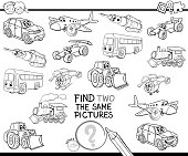 Black and White Cartoon Illustration of Finding Two Identical Pictures Educational Game for Children with Transport Vehicle Characters Coloring Book