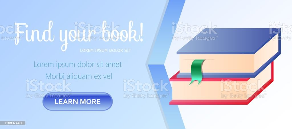 Find Your Book Horizontal Banner, Pile of Colorful Books with...