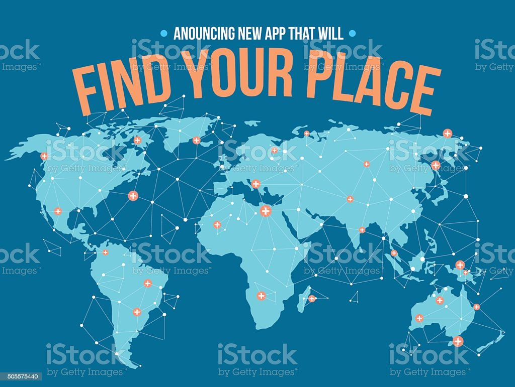 Find your place vector art illustration