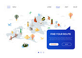 Find your route - colorful isometric web banner with copy space for text. Website header with world famous landmarks, Statue of Liberty, Torii, pyramids, Eiffel tower, Colosseum, Brooklyn bridge, moai