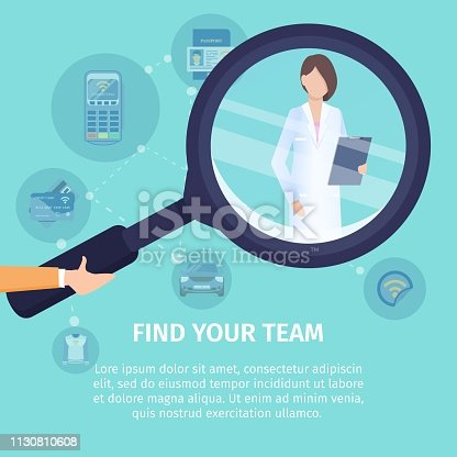 Find Your Team Flat Vector Square Banner. Medical Service Poster Template. Human Hand Holding Magnifying Glass, Magnifying Female Doctor Illustration. Searching Job, NFC Technology Usage Concept