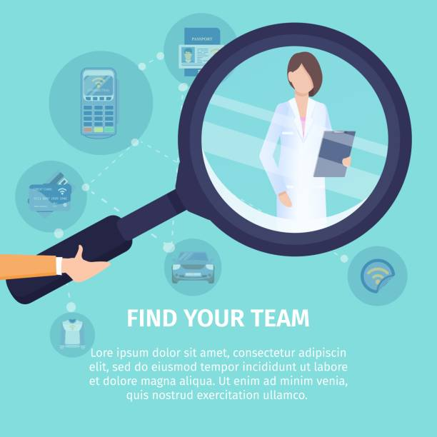 Find Your Team Flat Vector Square Banner Template Find Your Team Flat Vector Square Banner. Medical Service Poster Template. Human Hand Holding Magnifying Glass, Magnifying Female Doctor Illustration. Searching Job, NFC Technology Usage Concept discovery stock illustrations