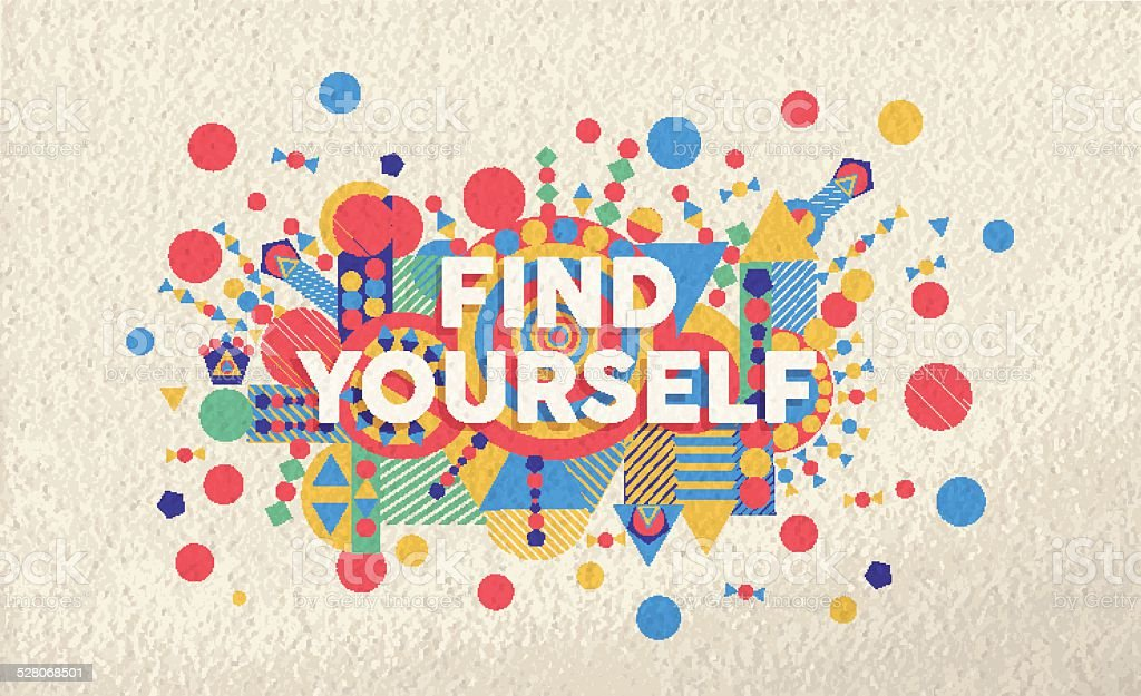 Find yourself quote poster design background vector art illustration